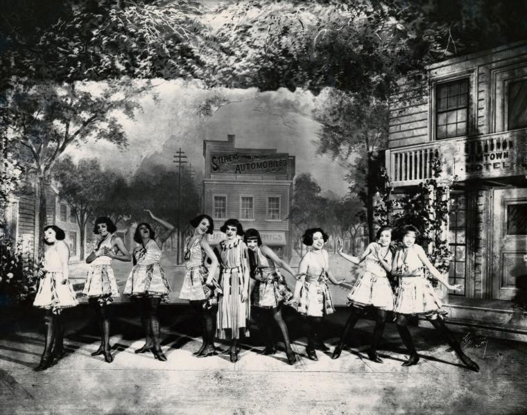 Lottie Gee (center) and chorus girls in a scene from Shuffle Along