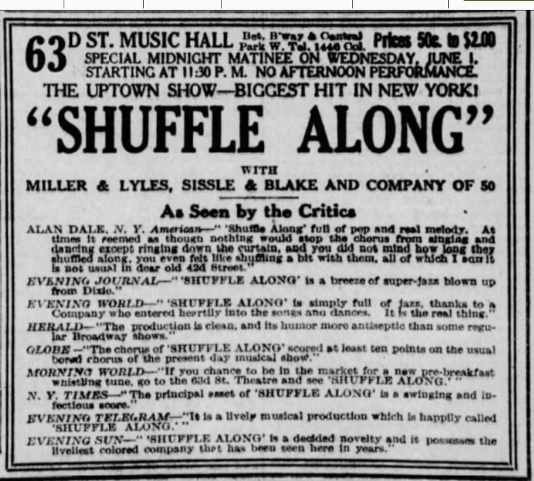 Shuffle Along Advertisement with Reviews